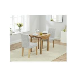 image-Mark Harris Promo Solid Oak Dining Set - 90cm Round Extending with 2 Maiya Grey Chairs