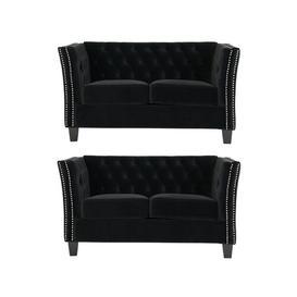 image-Fuentes 2 Piece Sofa Set Rosalind Wheeler Upholstery Colour: Black