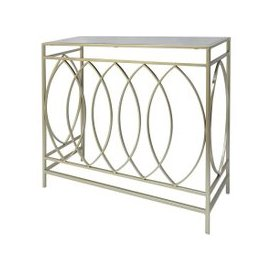 image-Cara Console Table In Mirrored Glass Top And Gold Frame