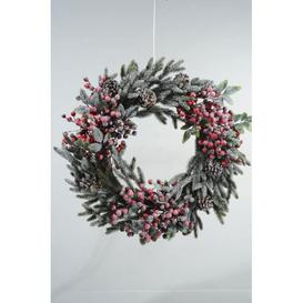 image-Frosted 60cm Realistic Christmas Wreath with Berries & Pinecones