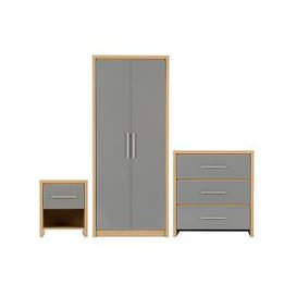 image-Seville Wooden Bedroom Set In Grey High Gloss