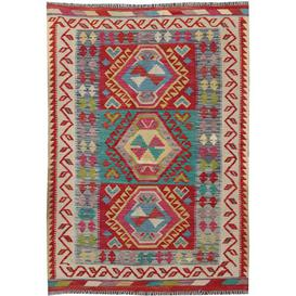 image-Malton Traditional Handmade Kilim Wool Red/Beige/Green Rug Bloomsbury Market