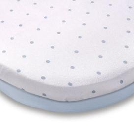 image-Pack of 2 Blue 100% Cotton Jersey Moses Basket Fitted Sheets Blue