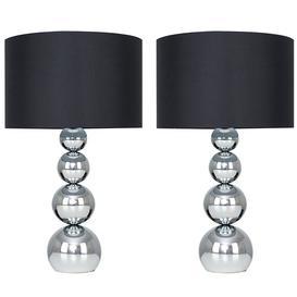 image-Ettinger 43cm Table Lamp Fairmont Park Shade Colour: Black, Bulb Type: LED Bulb