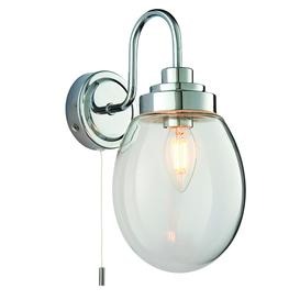 image-Winry IP44 bathroom wall light in chrome with clear glass shade - 90340.