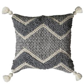 image-Grey Knitted Cushion