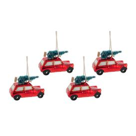 image-A by AMARA Christmas - Red Car with Tree on Roof Tree Decoration - Set of 4