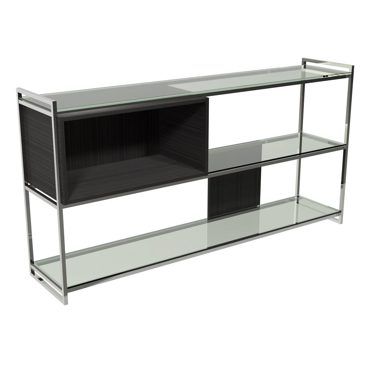 image-Federico low bookcase - Black stained Oak / chrome accent