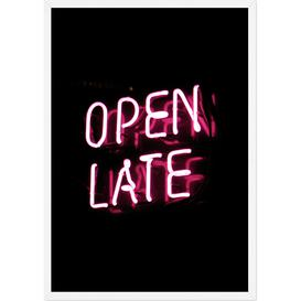 image-Open Late Neon Typography Framed Wall Art Print A1, Black & Pink