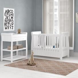 image-Eva Sleigh Cot Bed 3-Piece Nursery Furniture Set with Mattress BabyMore Colour: White