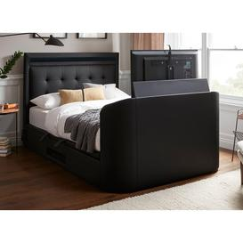 image-Tokyo D Tv/Media Bed Black Leather 4'6 Double