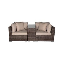 image-Florida Rattan Garden Armed High Bistro Set in Premium Truffle Brown and Champagne