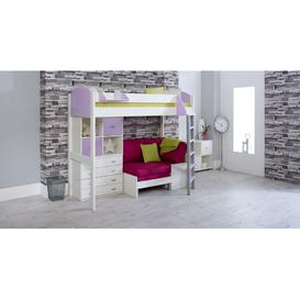 image-Trevino Single High Sleeper Loft Bed with Shelf and Desk Isabelle & Max Colour (Bed Frame): White/Lilac, Colour (Fabric/Accessory): Pink