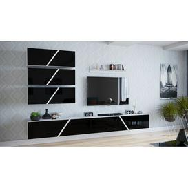 "image-Malayah Entertainment Unit fo TVs up to 85"" Wade Logan Colour: White/High Gloss Black"
