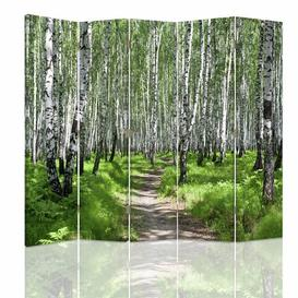 image-360 Rotatable Canvas Birch Forest 5 Panel Room Divider Union Rustic