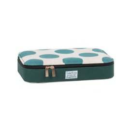 image-Green and Ecru Jewellery Box with Polka Dot Print