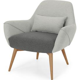 image-Lule Accent Armchair, Marl Grey and Hail Grey with Natural Leg