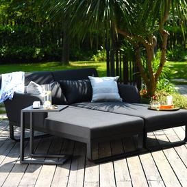 image-Colell Double Sun Lounger Sol 72 Outdoor Colour (Fabric): Charcoal, Colour (Frame): Charcoal
