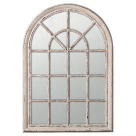 image-Heligan Arched Window Wall Mirror - Distressed White