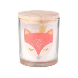 image-Christmas Candle in Fox Print Glass Holder with Lid
