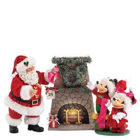 image-Mickey and Santa Hang a Wreath Figurine Possible Dreams