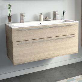 image-Gammill 1200mm Wall Hung Double Vanity Unit Ebern Designs Vanity Base Colour: Natural Oak