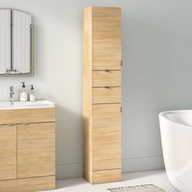 image-30 x 194cm Free Standing Tall Bathroom Cabinet Hudson Reed Finish: Natural Oak