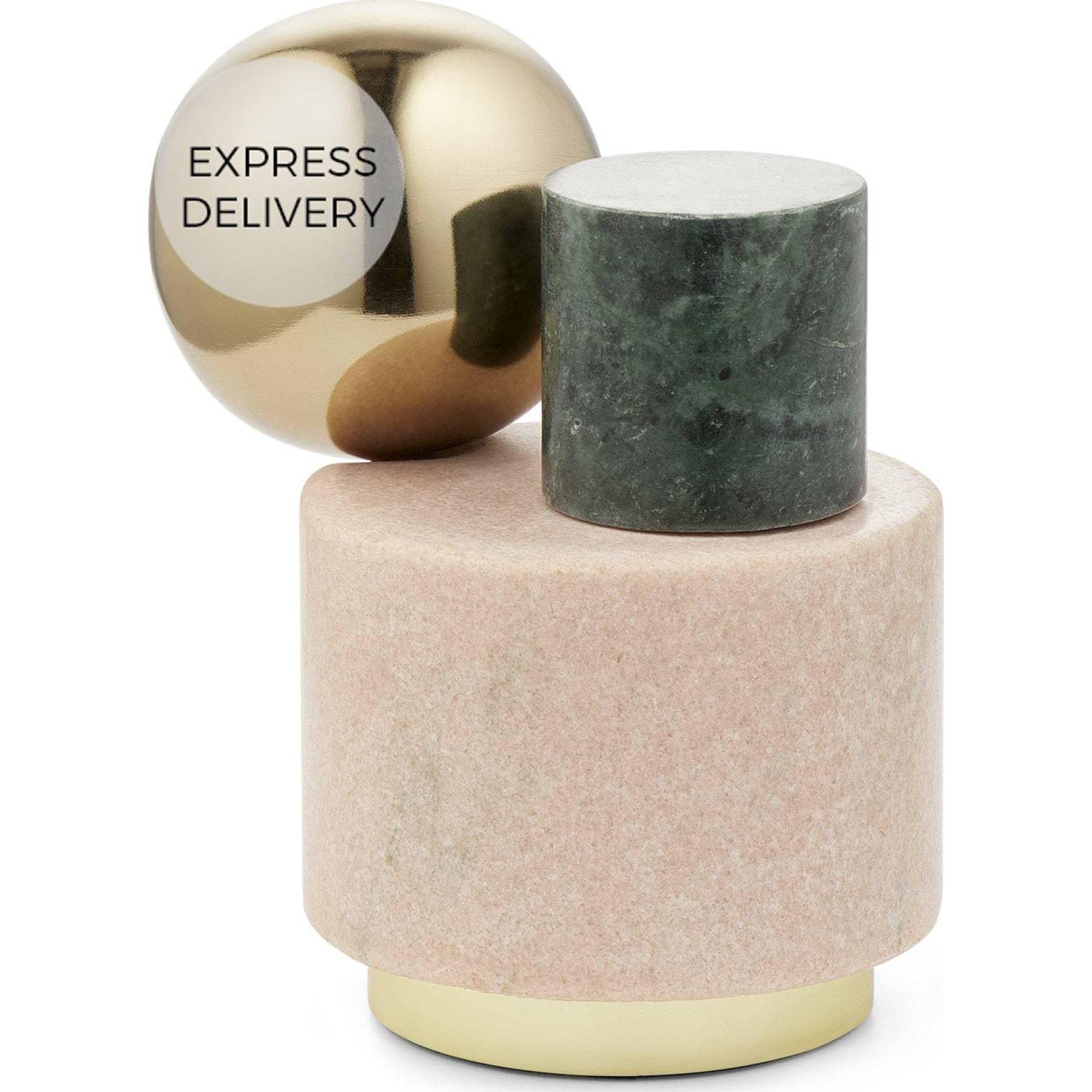 image-Tyla Marble & Brass Doorstop Objet, Multi