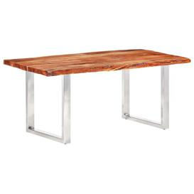 image-Amorsolo Dining Table Ebern Designs Table Base Colour: Stainless Steel, Size: H76 x L200 x W100cm