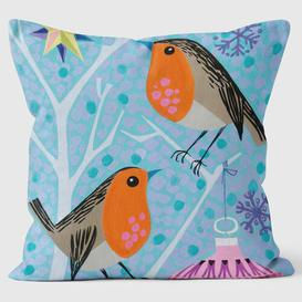 image-Two Robins Star Christmas Tree Bauble Cushion We Love Cushions