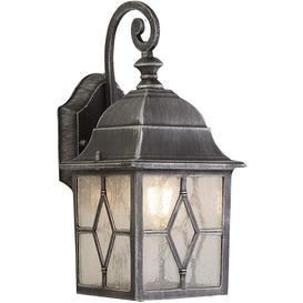 image-Traditional Outdoor Wall Light in Black Silver With Leaded Style Cathedral Glass