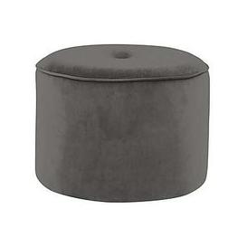 image-Connection Large Fabric Drum Footstool - Grey