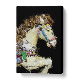 image-'Vintage Rocking Horse' Painting on Wrapped Canvas East Urban Home Size: 50.8 cm H x 35.6 cm W