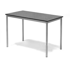 image-Desk SONITUS, 1200x700x800 mm, dark grey linoleum, alu grey