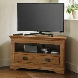 image-Rustic Solid Oak TV Cabinets - Corner TV Unit - French Farmhouse Range - Oak Furnitureland