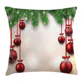 image-Aleesha Christmas Balls Ribbons Outdoor Cushion Cover Ebern Designs Size: 50cm H x 50cm W