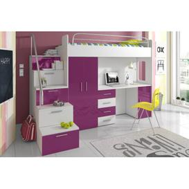 image-Asturia High Sleeper Bedroom Set Selsey Living Colour: Purple