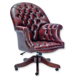 image-Boden Leather Executive Chair Three Posts Colour (Upholstery): Birch Claret