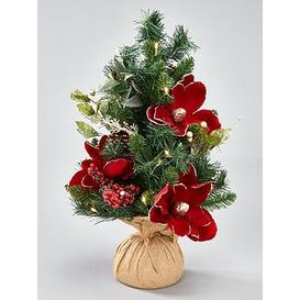 image-2Ft Red And White Retro Magnolia Tabletop Pre-Lit Christmas Tree