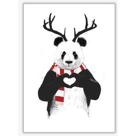 image-'Christmas Panda' by Mercedes Lopes Charro - Graphic Art Print on Paper East Urban Home Frame Options: No Frame, Size: 29.7 cm H x 21 cm W x 1 cm D