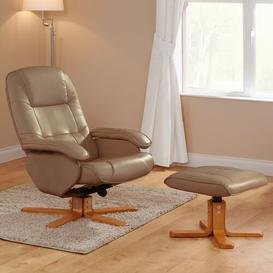image-Sweatt Manual Swivel Recliner with Footstool Ebern Designs Upholstery Colour: Camel