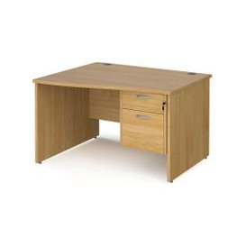image-Value Line Deluxe Panel End Left Hand Wave Desk 2 Drawers, 120wx80/99dx73h (cm), Oak, Free Next Day Delivery