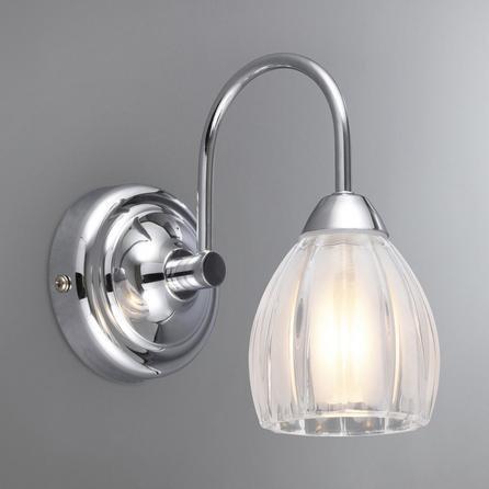 image-Julius Ribbed Glass Bathroom Wall Light Silver