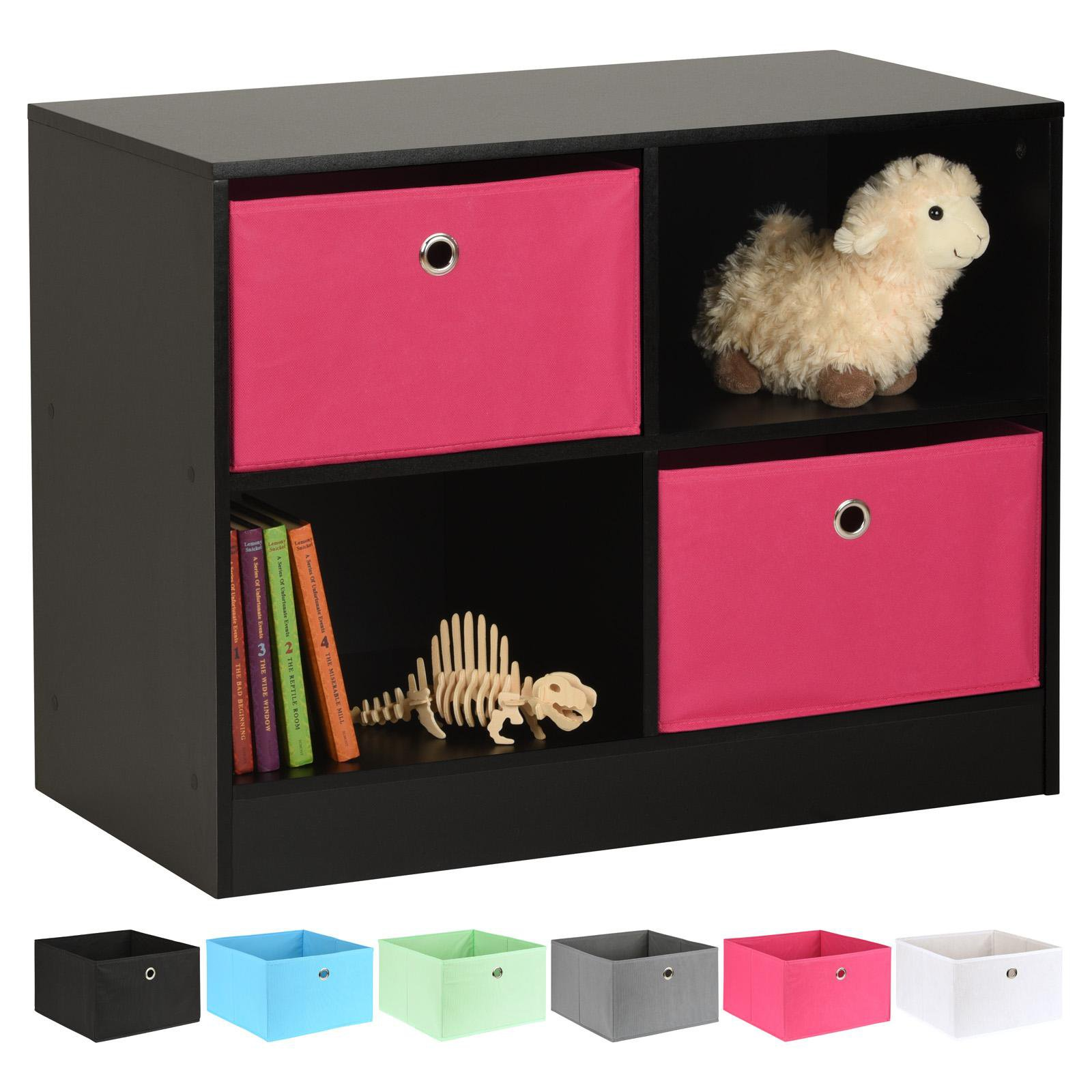 image-Hartleys Black 4 Cube Kids Storage Unit & 2 Easy Grasp Box Drawers - Pink