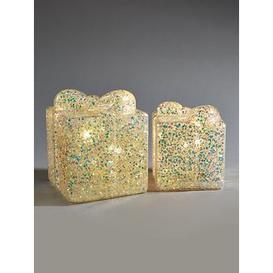 image-Festive Set Of 2 Battery Operated Glitter Box Christmas Decorations