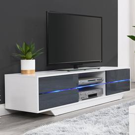 image-Sienna White And Grey High Gloss TV Stand With Multi LED Lights