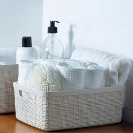image-Curver Jute Medium Storage Basket 12L Off-White