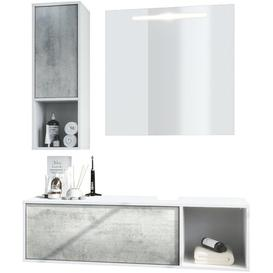 image-La Costa 3 Piece Bathroom Storage Furniture Set with Mirror Vladon Colour/Finish: Oxide concrete effect, Equipment: With sink, without tap