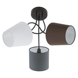 image-Eglo 95192 Almeida Three Light Semi Flush Ceiling Light In Black With Fabric Shades