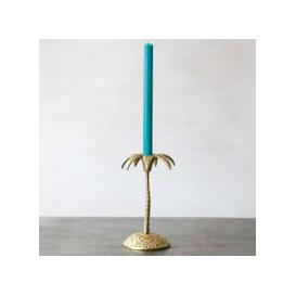 image-Single Golden Palm Candle Holder